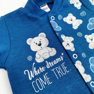 plavi kombinezon s printom za novorođene bebe