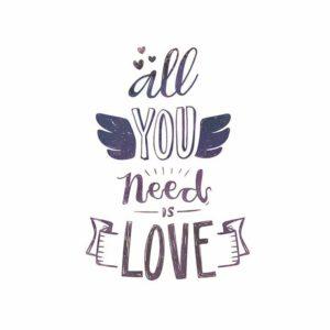 All You need is love ilustracija na tetrici za bebe