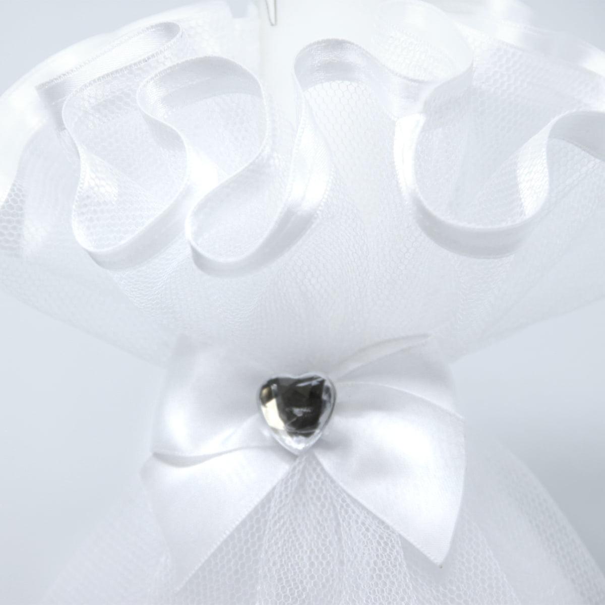 bogati bijeli ukras na svijeći za krštenje Angel white