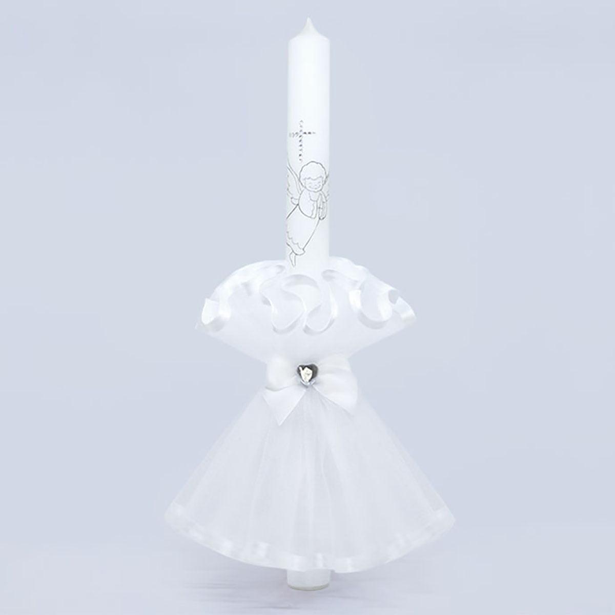 Angel white velika bijela svijeća za krštenje ukrašena anđelom
