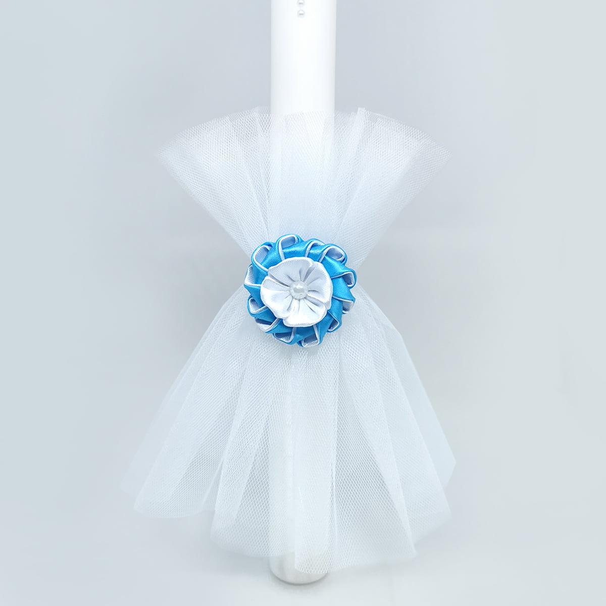 azure light svijeća za krštenje s plavim ukrasom