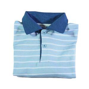 plava polo majica na prugice