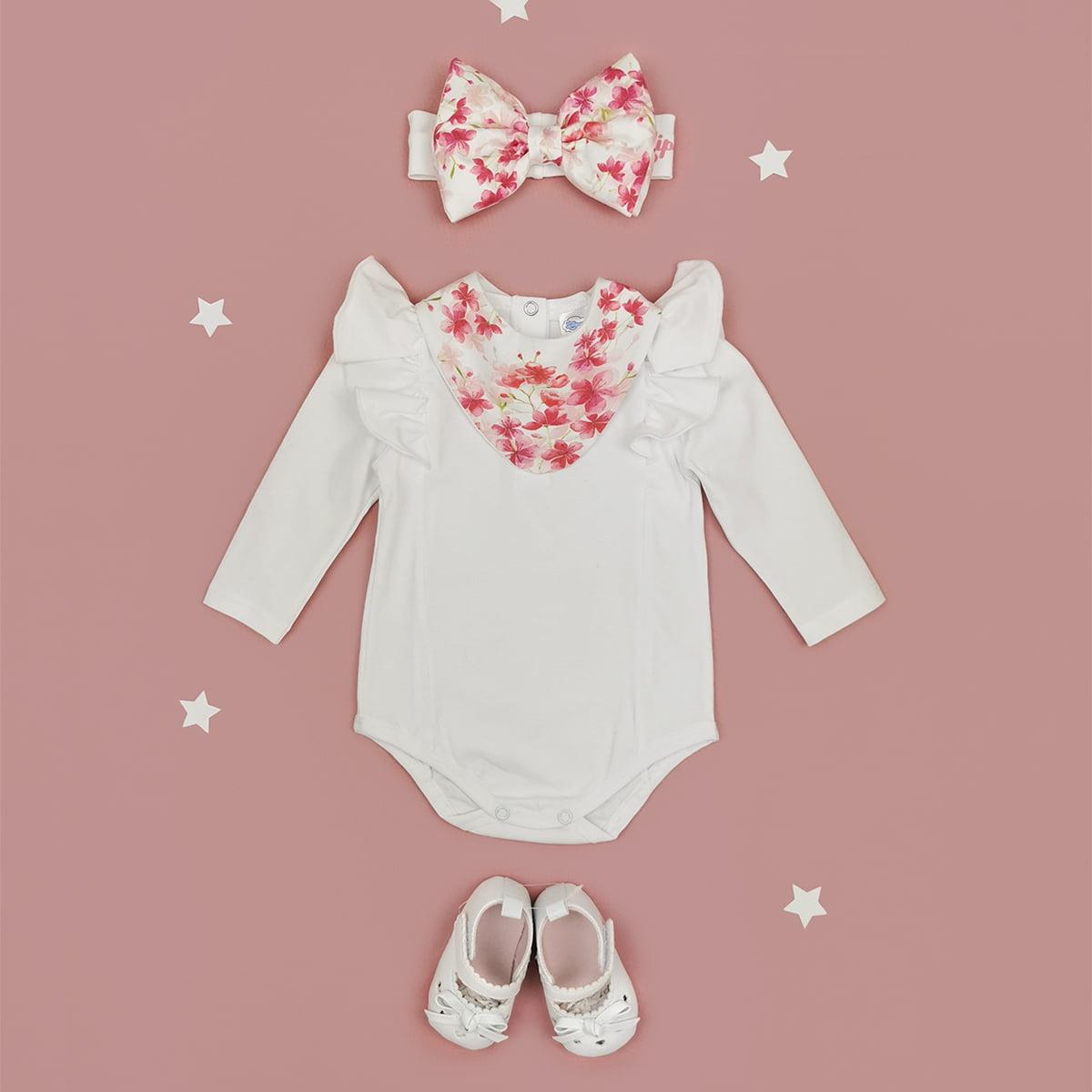 bijeli komplet za bebe bella s cvjetnim detaljima