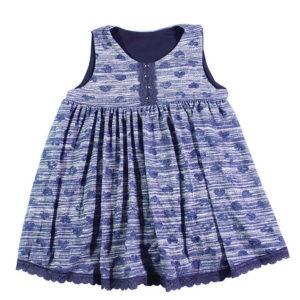 Plavo pletivo pamučna haljina Blue hearts