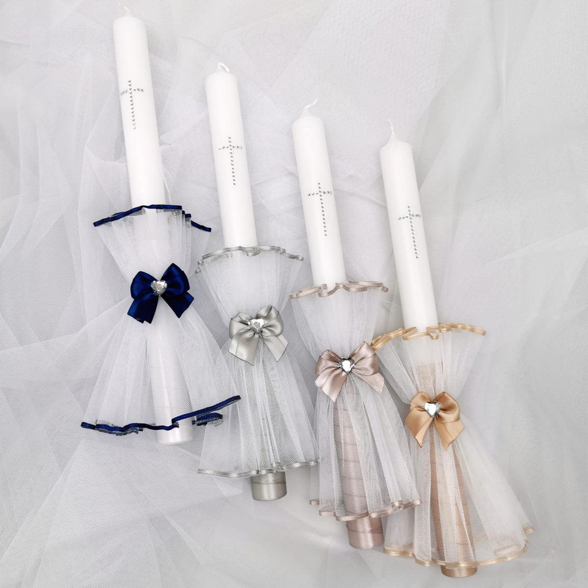 svijeće za krštenje beba u elegantnim bojama