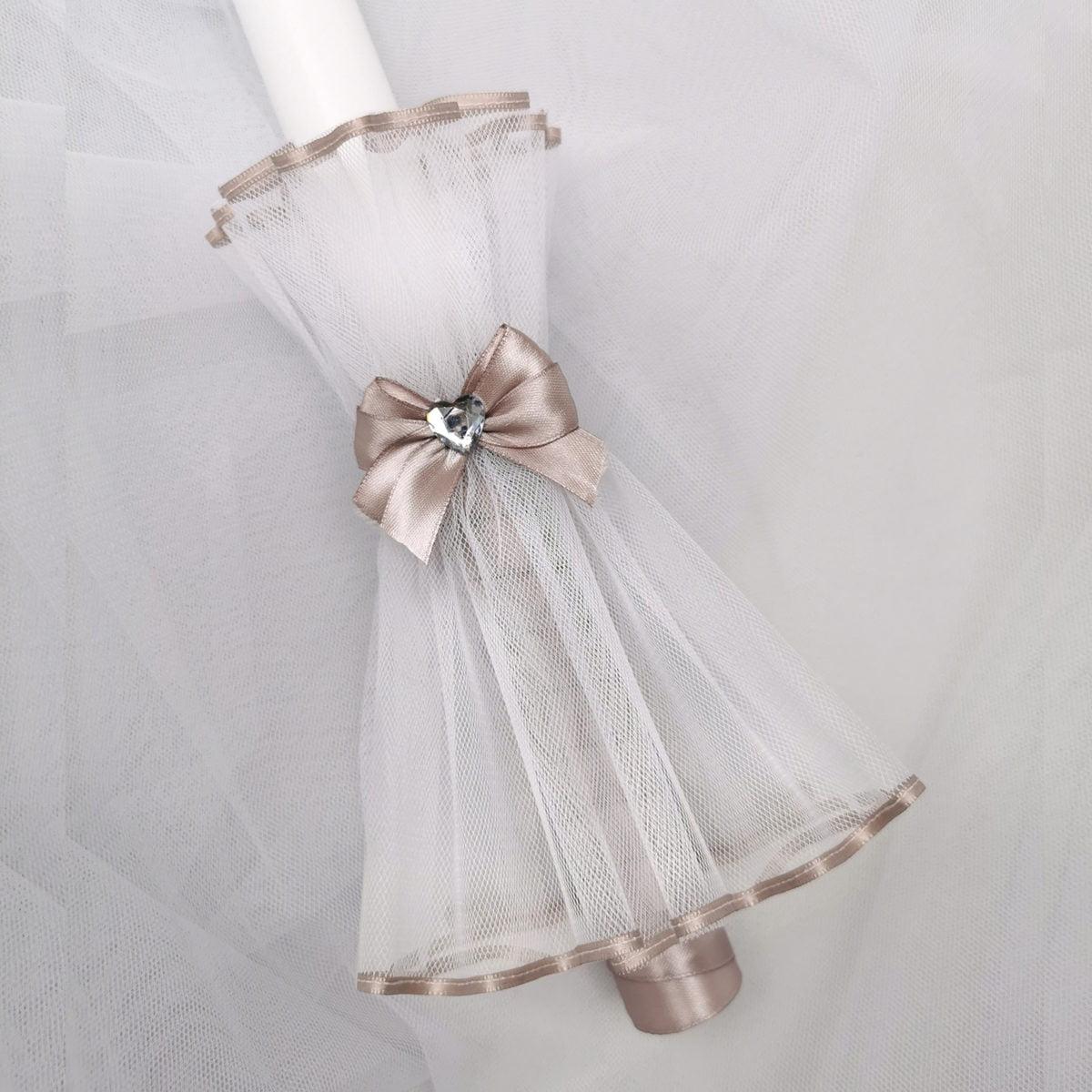 bakrena boja Diamond heart svijeće za krštenje