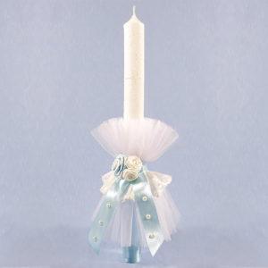 Blue sky pearl velika bijelo plava svijeća za krštenje