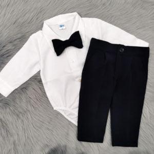 komplet za bebe s bijelom bodi košuljom
