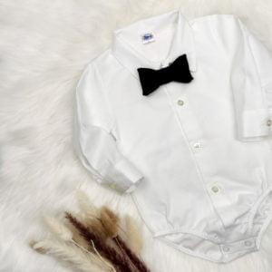 Bijela bodi košulja dugi rukav s leptir mašnom
