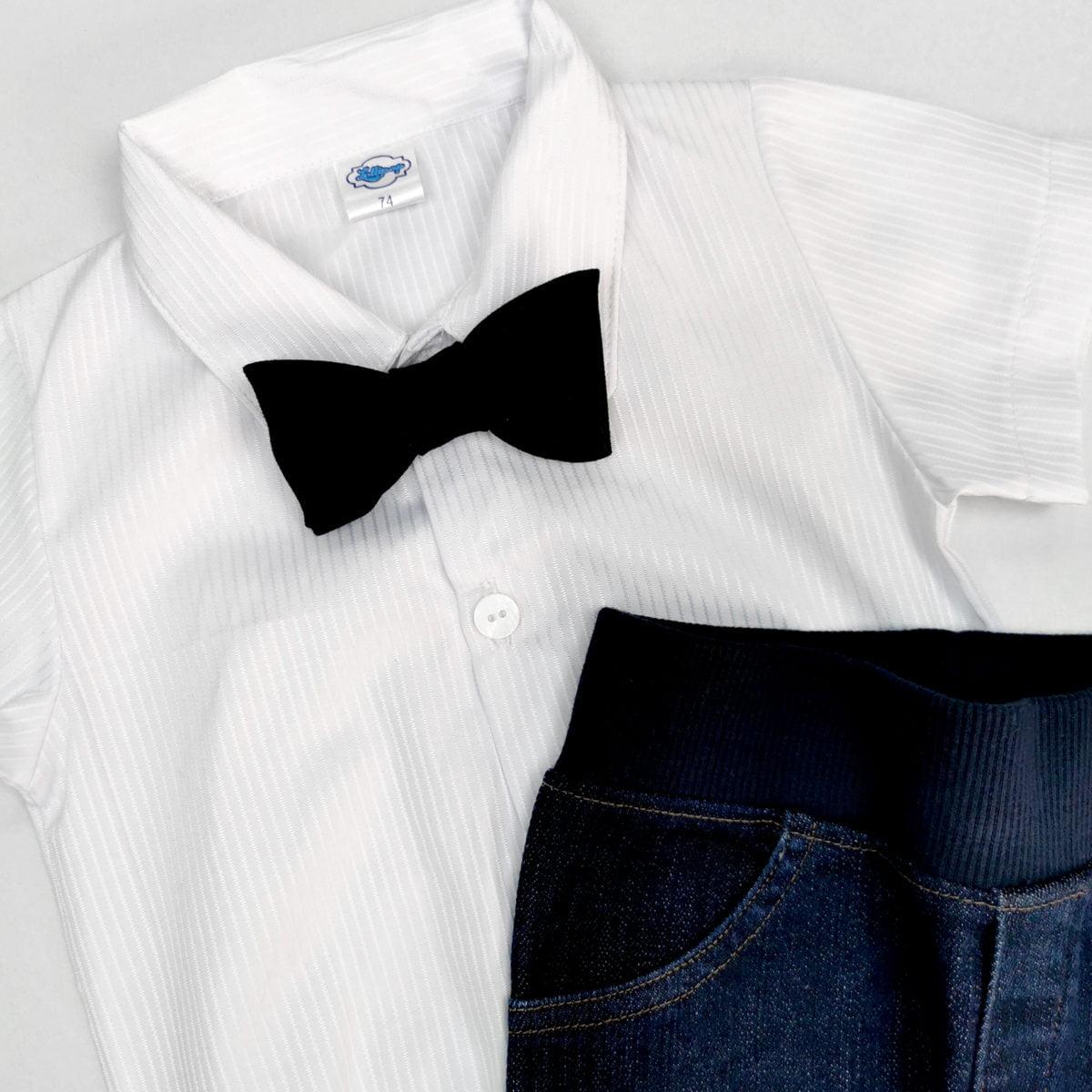 bijela košulja-bodi detalj s leptir mašnom