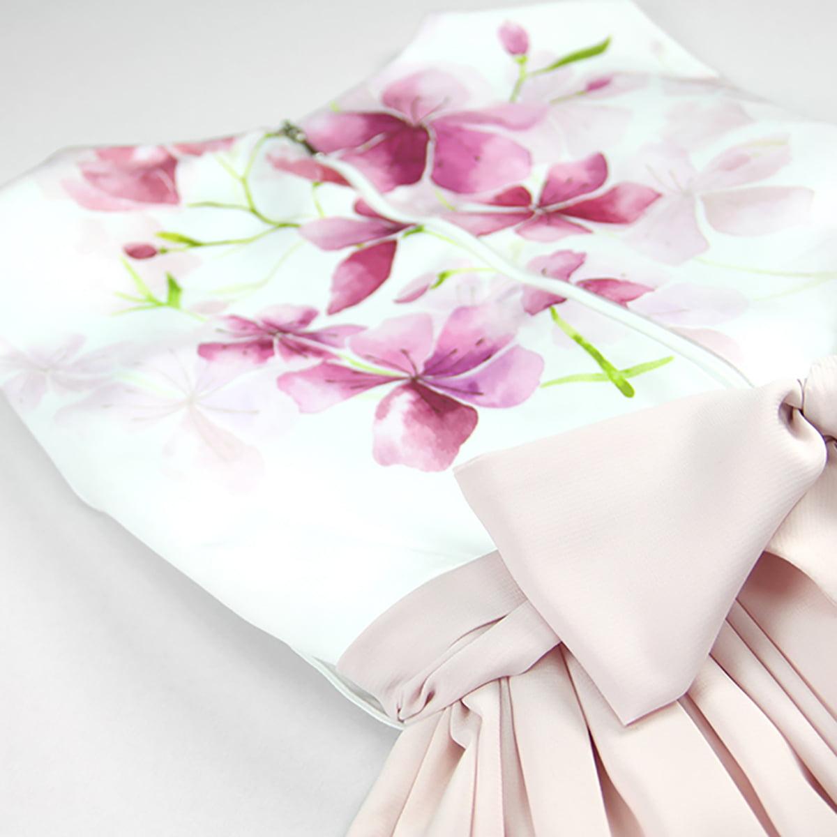 bijelo roza cherry blossom haljina detalj