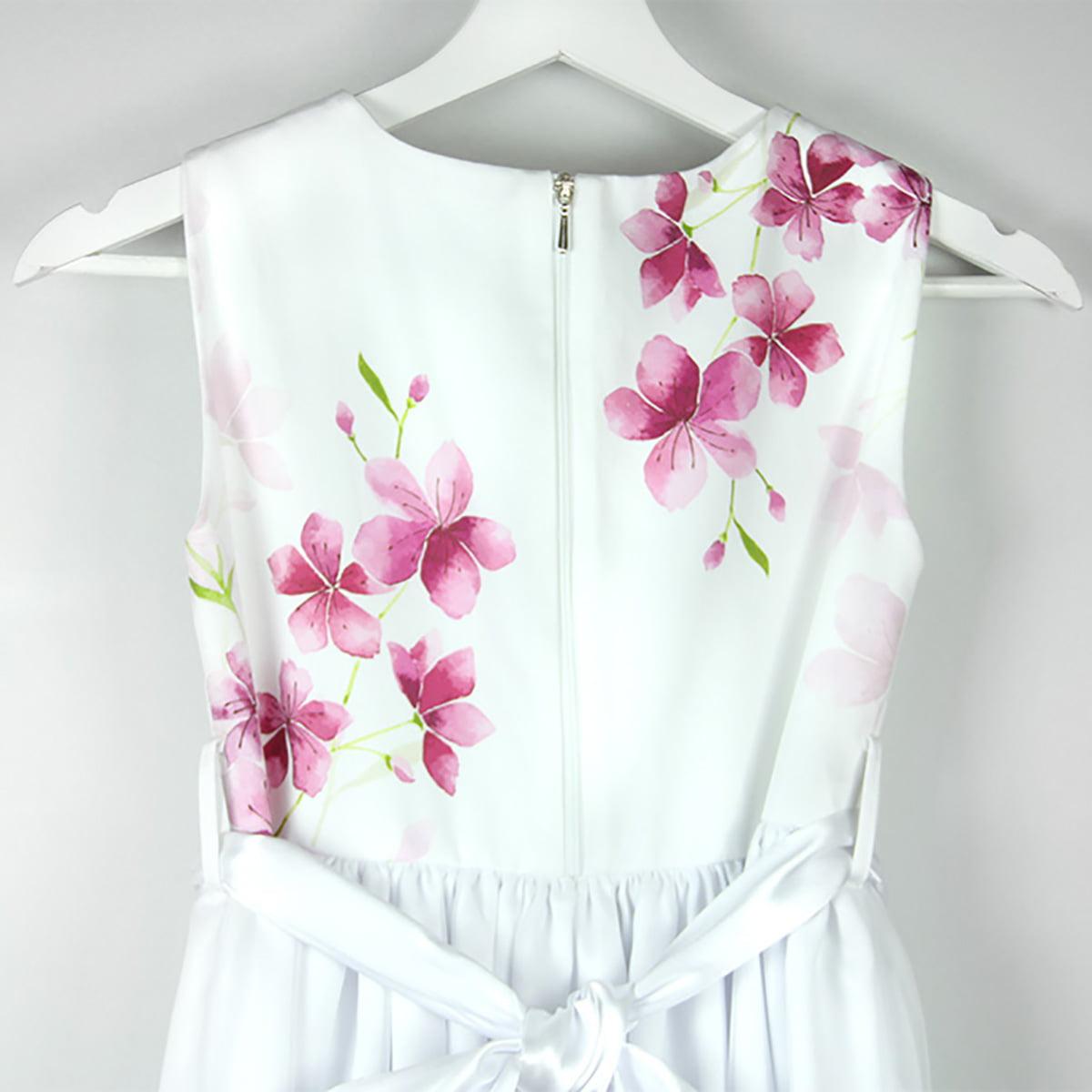 cherry blossom bijela haljina s printom