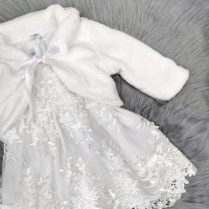 bijela chiara haljina s bundicom za krštenje
