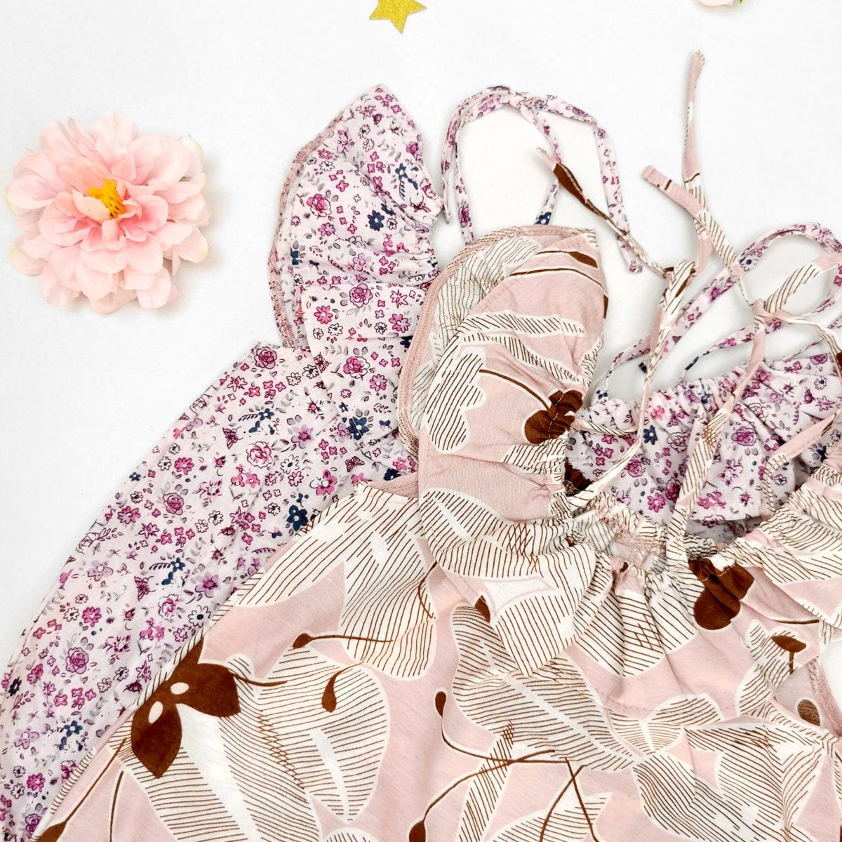 detalj volana cvjetnih daisy rompera