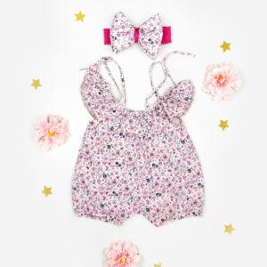 cvjetni romper s trakicom za bebe
