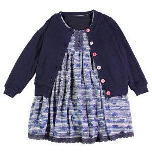 Tamnoplavi dječji kompletić haljina i vestica