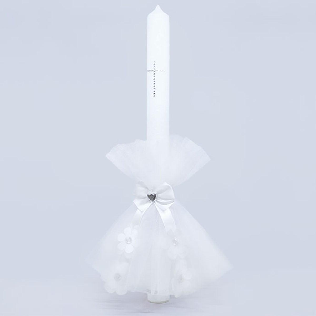 Diamond daisy velika bijela ukrašena svijeća za krštenje