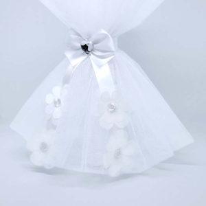 bijela svijeća Diamond daisy bogato ukrašena detaljima