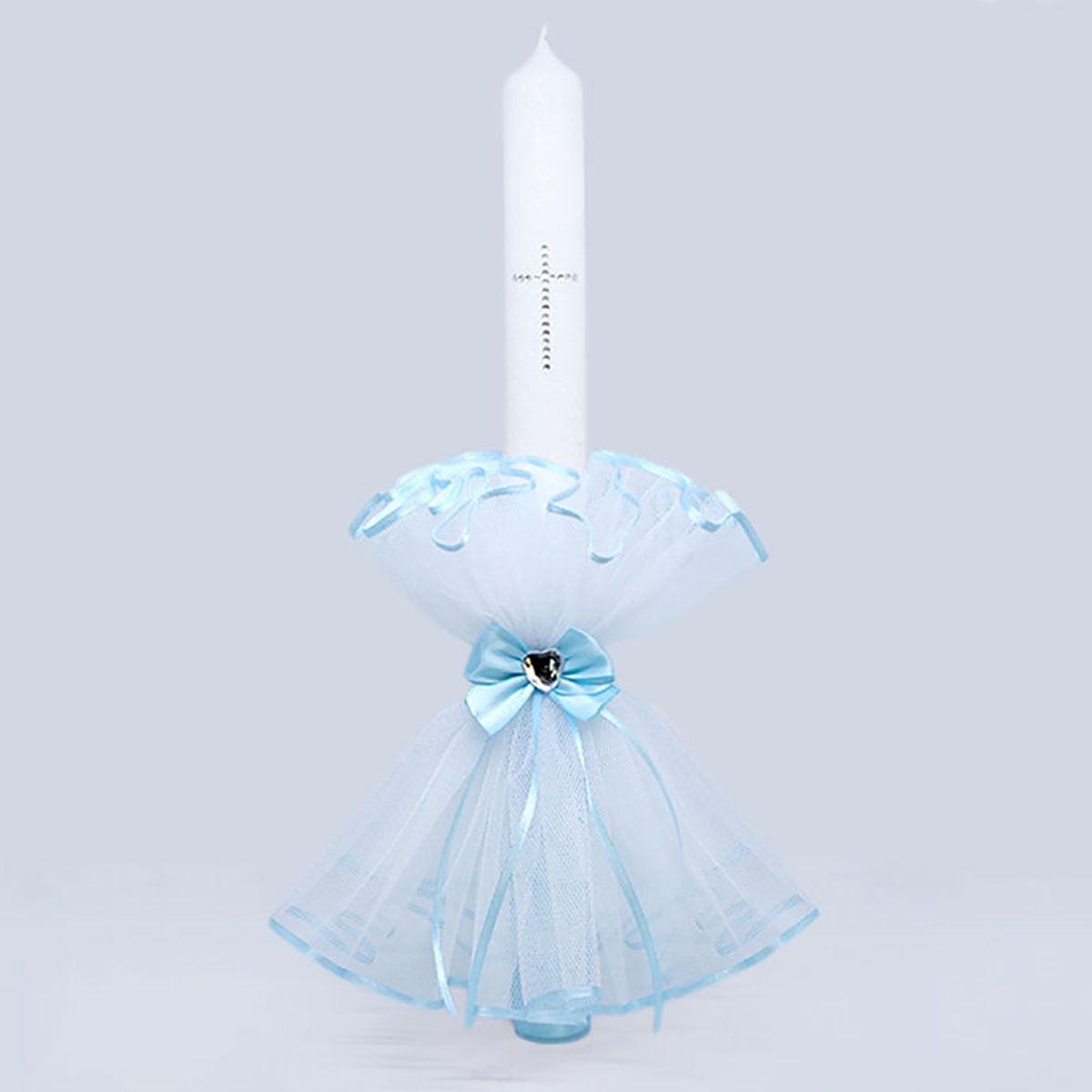 Diamond heart blue velika bijelo plava svijeća za krštenje