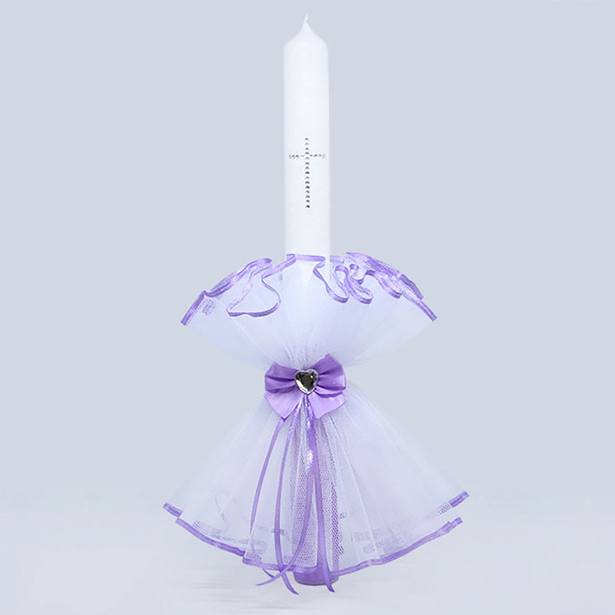 Diamond lily heart velika ukrašena svijeća za krštenje