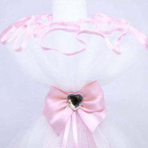 Diamond rose heart bijela bogato ukrašena svijeća za krštenje
