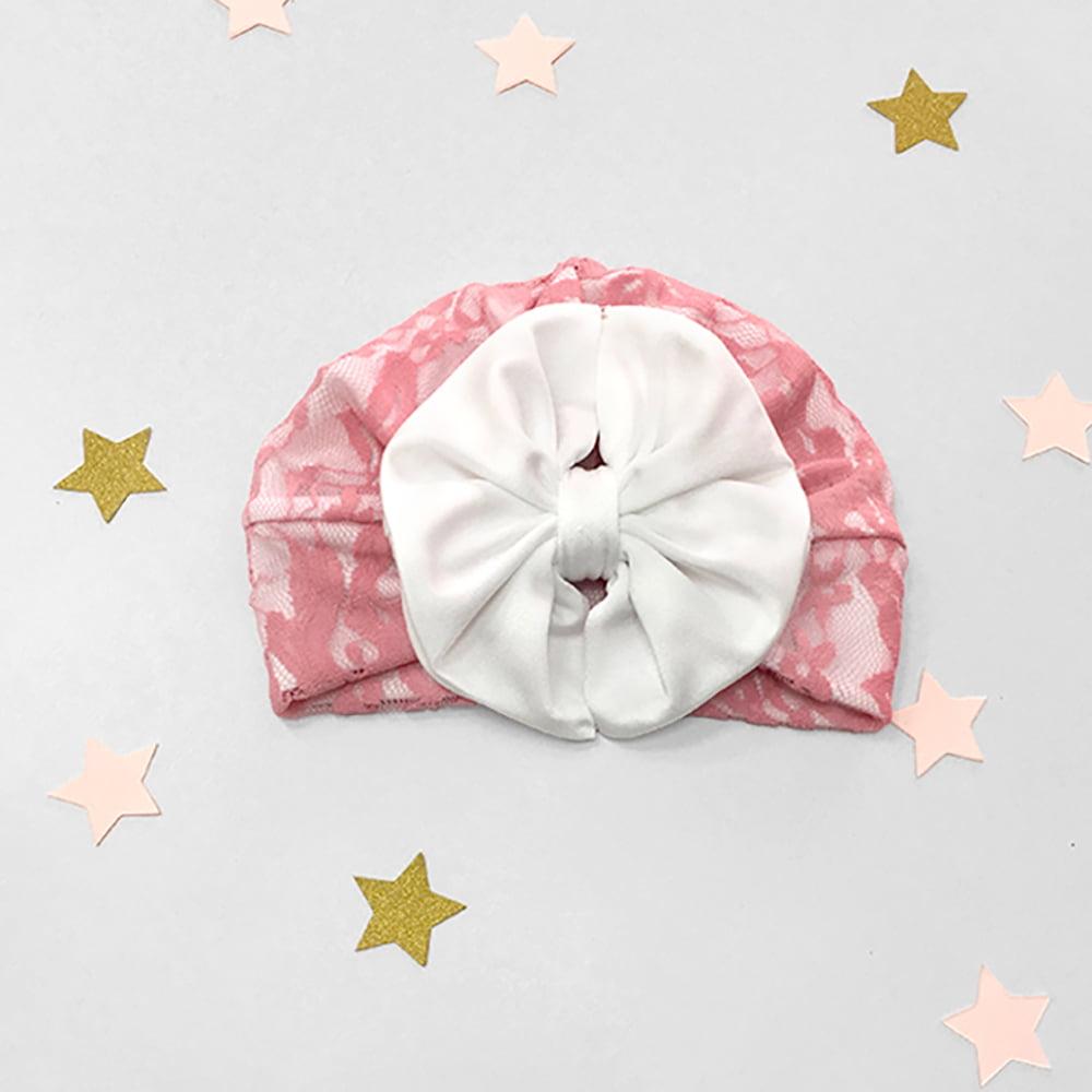 roza čipkana kapica turban za male bebe