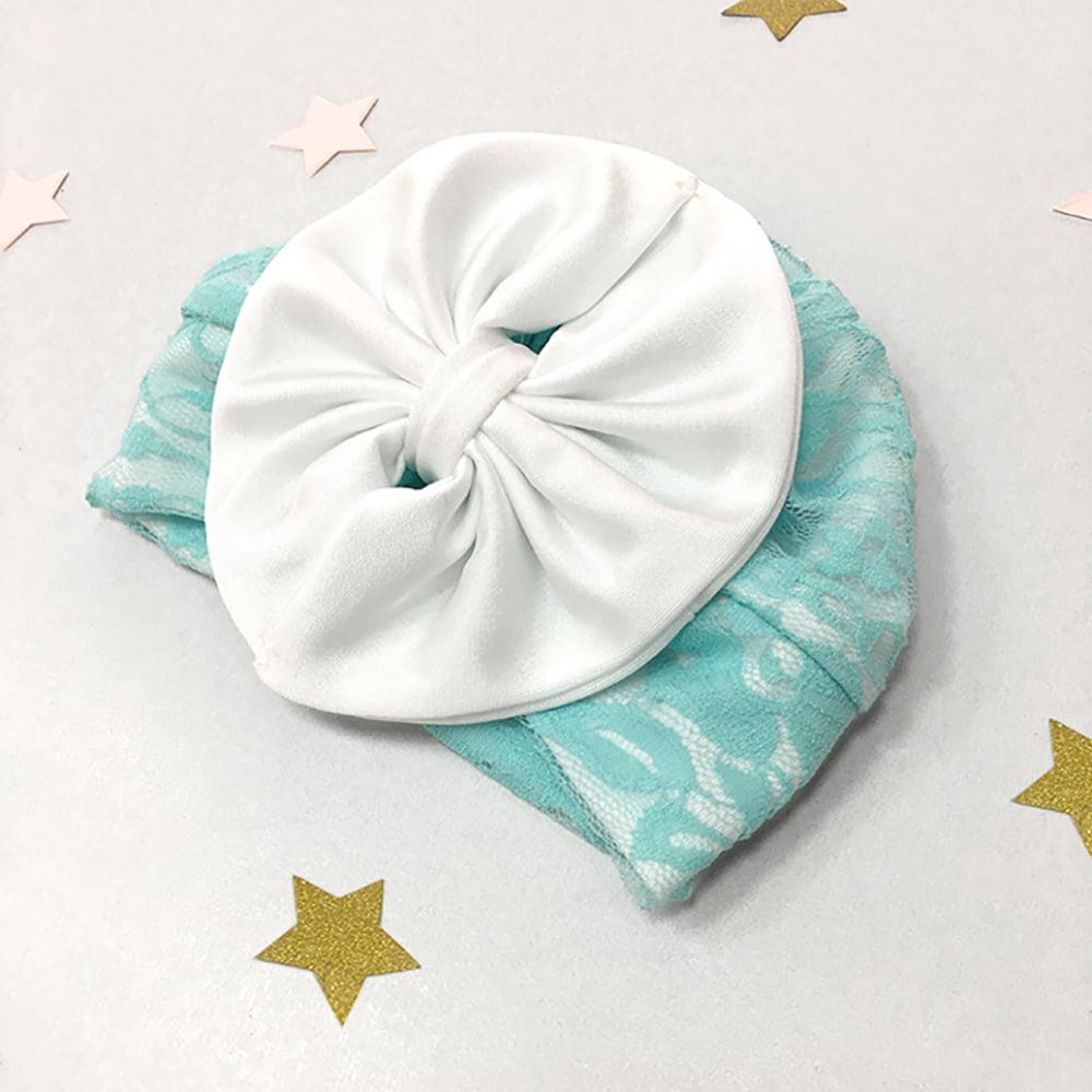 mint zelena čipkana kapica za novorođenčad i male bebe