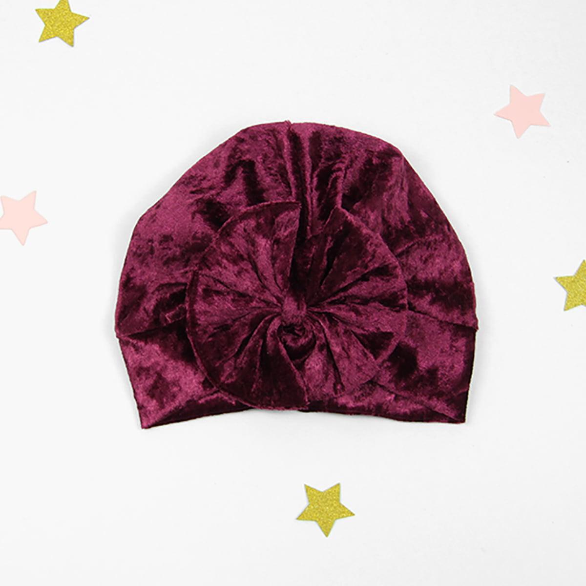 diva plišani turban s mašnom u boji vina