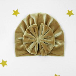 diva turban s mašnom zlatni pliš