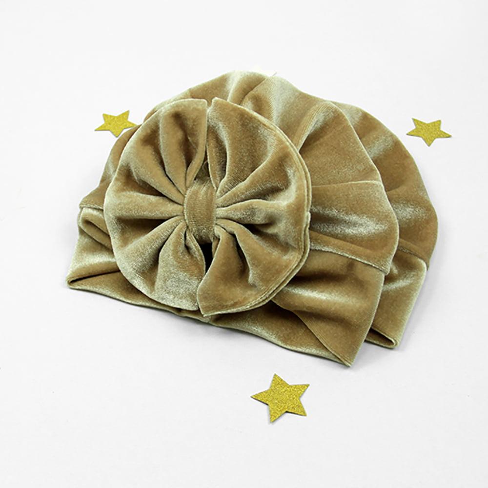 Zlatni velvet turban za bebe, djecu i odrasle