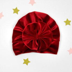 crveni plišani velvet turban s mašnom