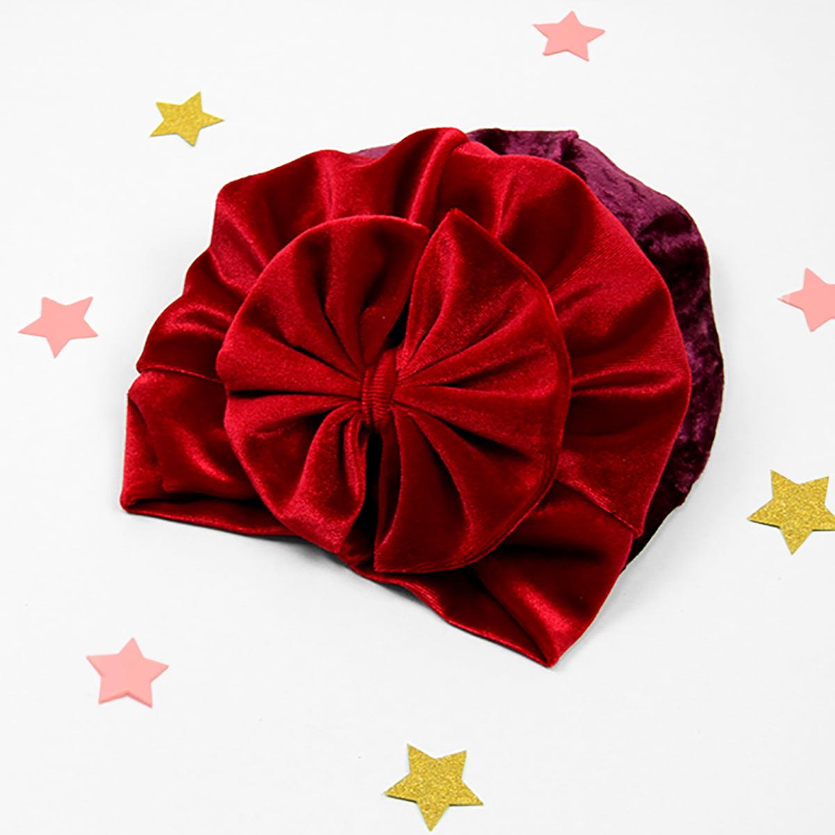 crveni velvet turban za djecu i odrasle