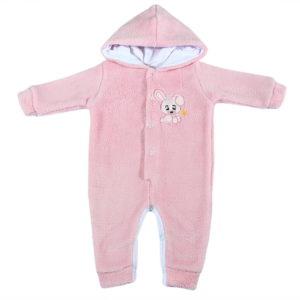 Svijetlo rozi zimski fluffy kombinezon za bebe