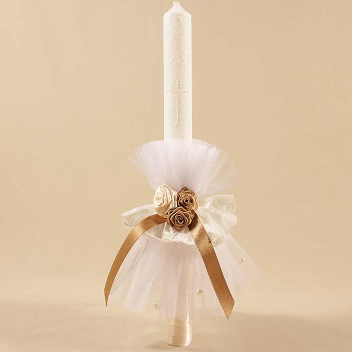 Goldie angel ručno ukrašena velika svijeća za krštenje
