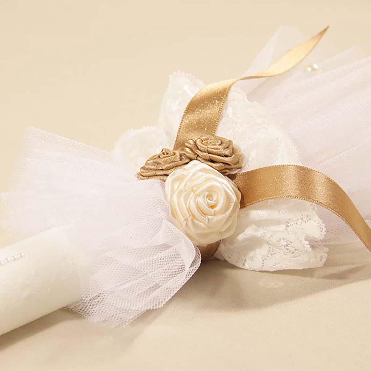 cvjetni bijelo zlatni ukrasi svijeće za krštenje Goldie angel