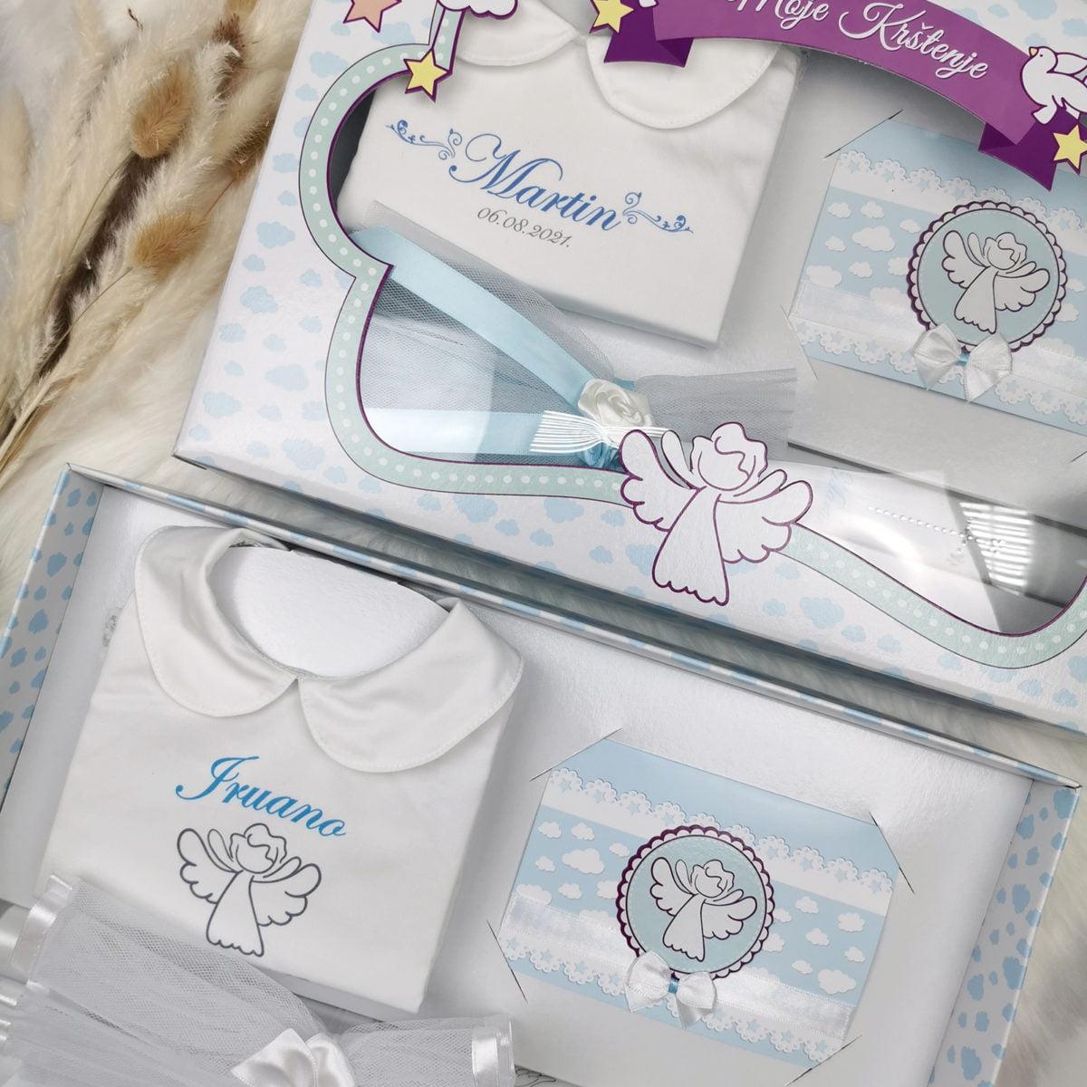 personalizirane svijeće i košuljice za krštenje plave