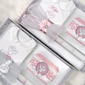 personalizirane svijeće i košuljice za krštenje roze