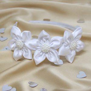 svečani ukras za kosu bijeli rajf