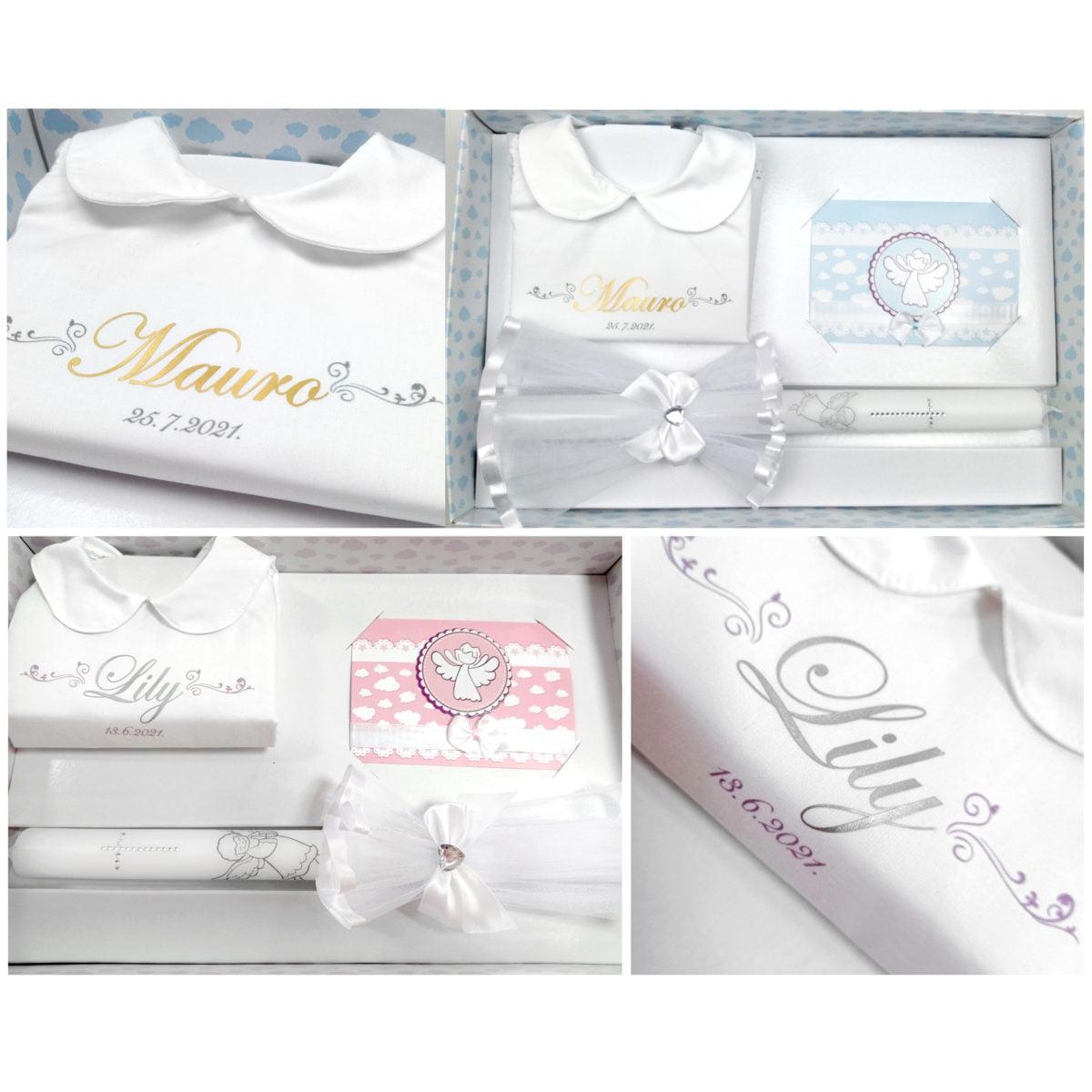 srebrna i zlatna slova personalizirane krsne košuljice