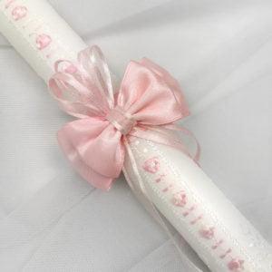 svijeća za krštenje roza s čipkom