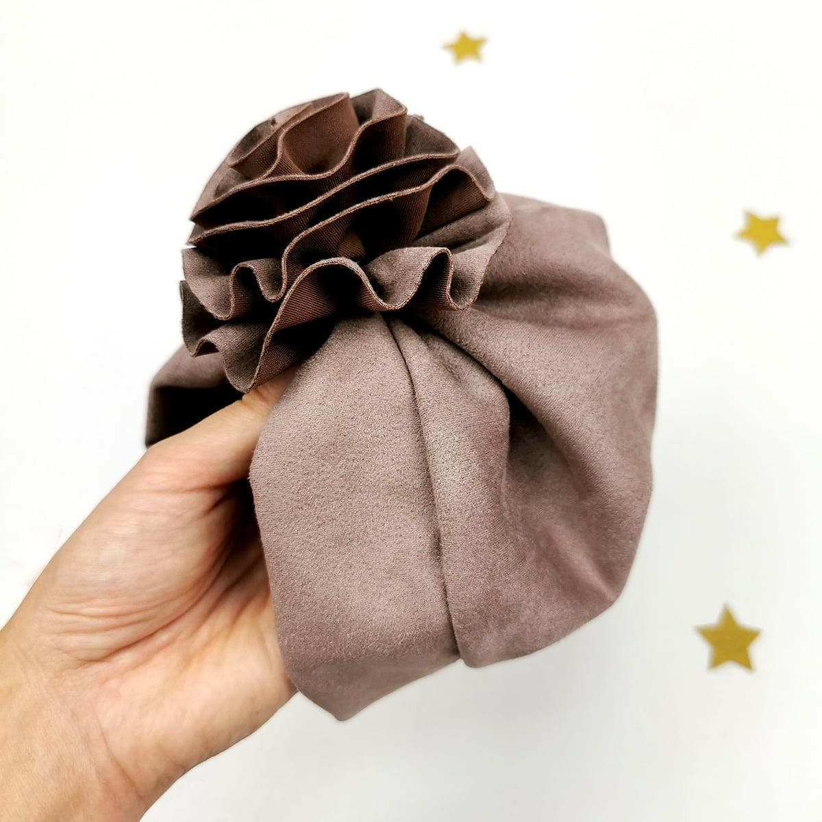 zimski smeđi lady turban kapa za djevojčice