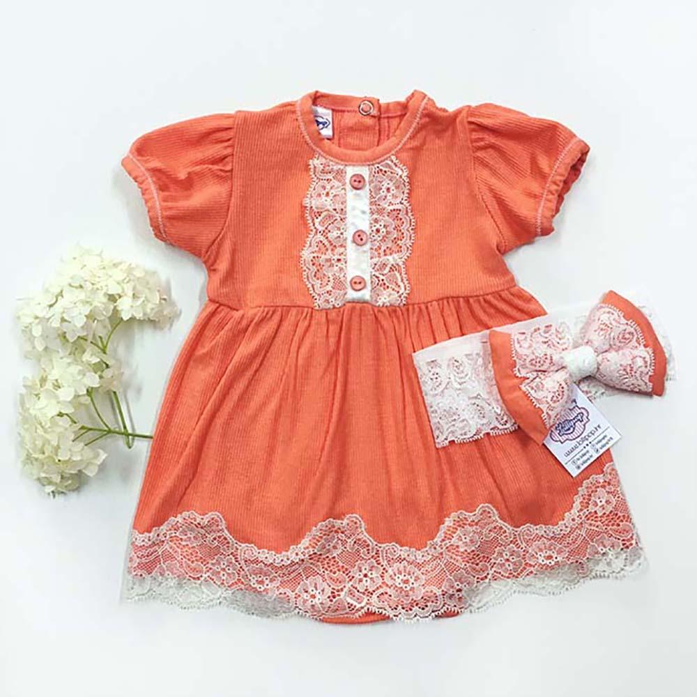 Komplet narančasta bodi haljina za bebe i trakica