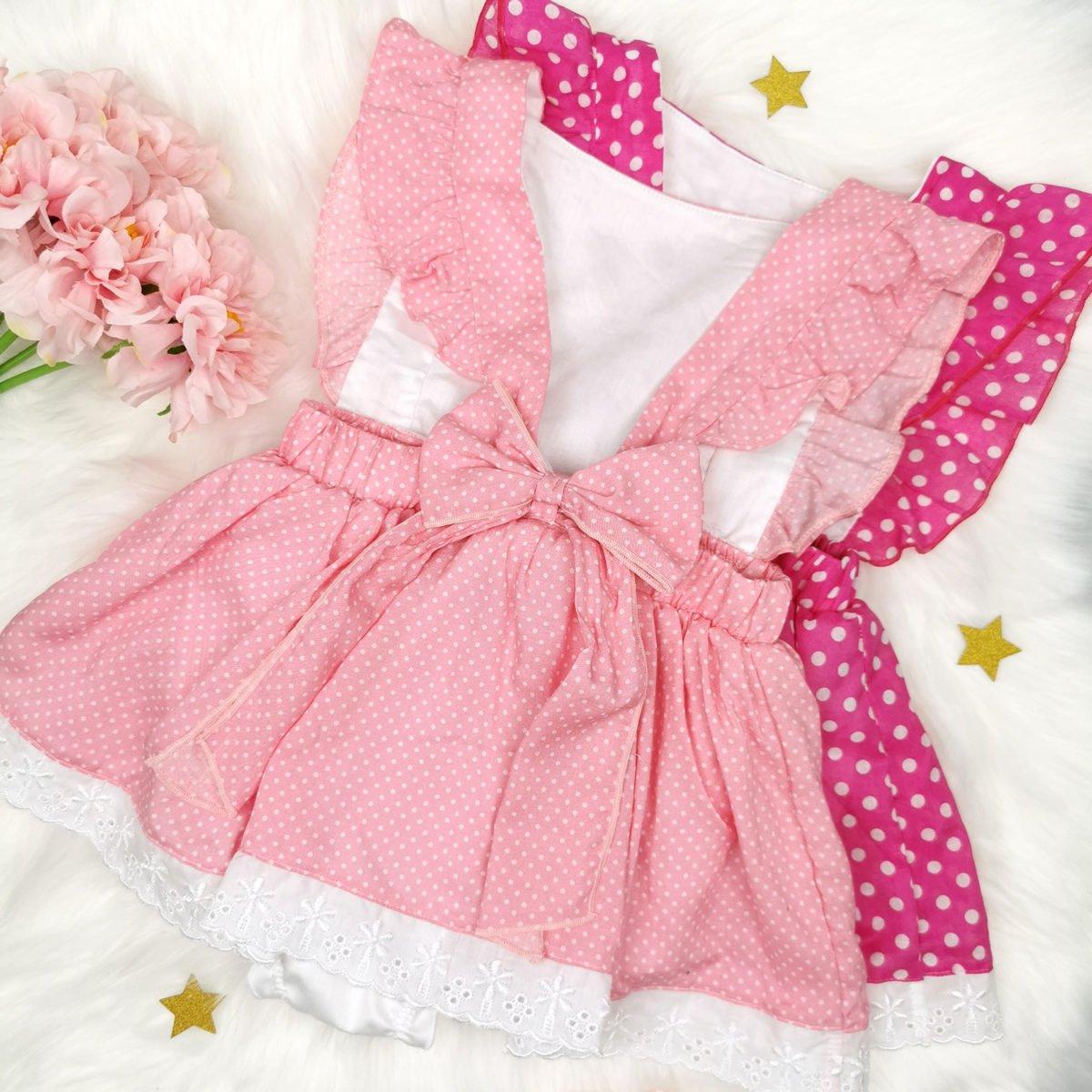 light pink polka bodi haljina s otvorenim leđima