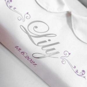 srebrna slova personalizirane krsne košuljice