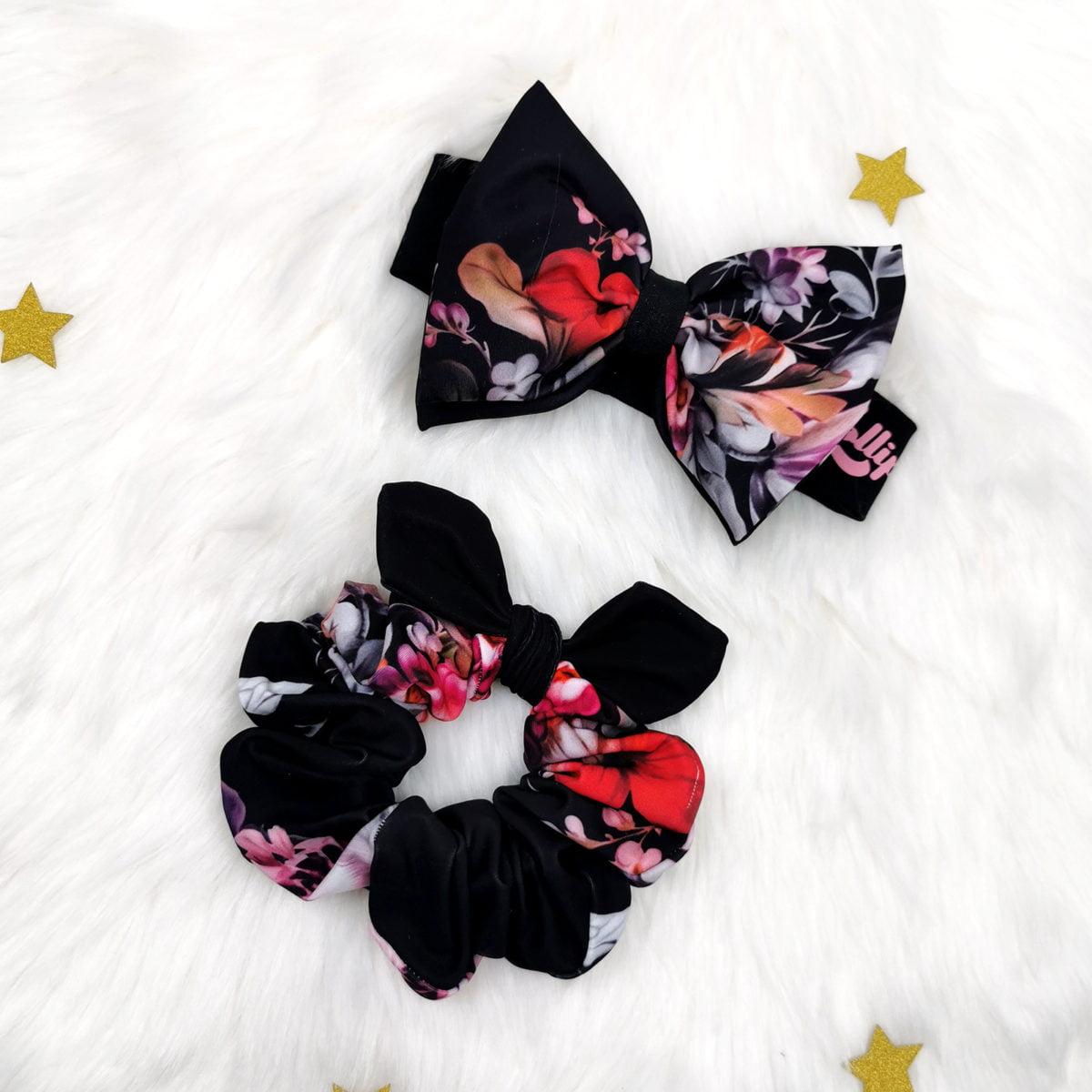 crni cvjetni komplet trakica i gumica za mamu i kći