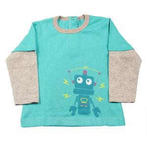 Mali robot majica zelena za bebe