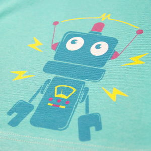Robot print na zelenoj majici za bebe