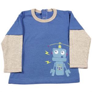 Mali robot majica za bebe plava