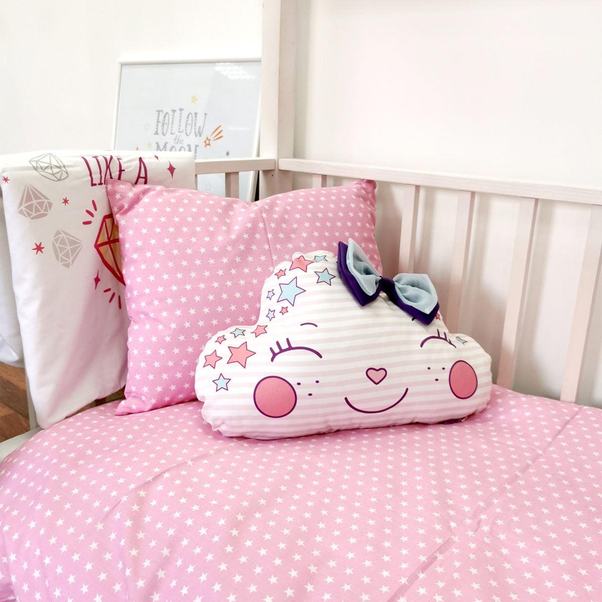 rozi jastuk i posteljina za djevojčice