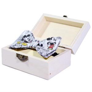 mickey bowtie mašna u drvenoj kutiji